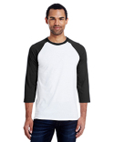 42BA Hanes Men's 4.5 oz., 60/40 Ringspun Cotton/Polyester X-Temp® Baseball T-Shirt