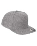 6689 Yupoong Adult 6-Panel Melton Wool Structured Flat Visor Classic Snapback Cap