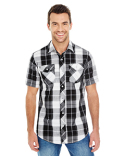 B9202 Burnside Men's Short-Sleeve Plaid Pattern Woven Shirt