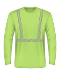 BA3706 Bayside 5.4 oz., 50/50 Hi-Visibility Segmanted Striping Long-Sleeve T-Shirt