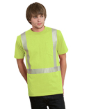 BA3707 Bayside 5.4 oz., 50/50 Hi-Visibility Segmanted Striping Pocket T-Shirt