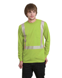 BA3709 Bayside 5.4 oz., 50/50 Hi-Visibility Segmanted Striping Long-Sleeve Pocket T-Shirt