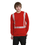 BA3712 Bayside 6.1 oz., 100% Cotton Hi-Visibility Segmanted Striping Long-Sleeve Pocket T-Shirt