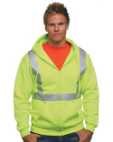 BA3790 Bayside 80/20 Heavyweight Hi-Visibility Solid Striping Full-Zip Hooded Sweatshirt