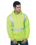 BA3796 Bayside 80/20 Heavywieght Hi-Visibility Solid Striping Pullover Hooded Sweatshirt