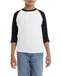 G570B Gildan Youth  Heavy Cotton™ 5.3 oz. 3/4-Raglan Sleeve T-Shirt