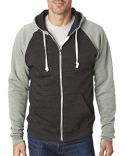 JA8874 J America Adult Triblend Colorblock Full-Zip Fleece Hood