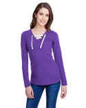 LA3538 LAT Ladies' Long Sleeve Fine Jersey Lace-Up T-Shirt